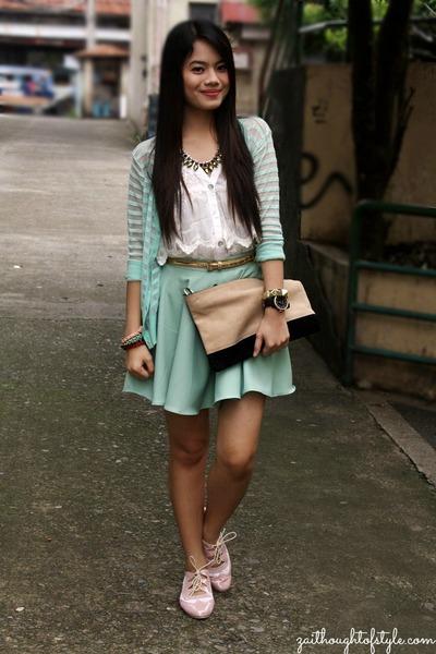 beige WAGW bag - WAGW cardigan - Bubbles skirt - white Bayo top