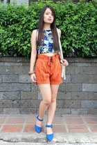 blue crop Tangerine top - Oxygen shorts