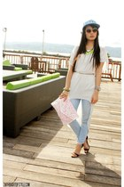 light blue Yhansy hat - belleza bag - Zara pants