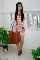 tan Aldo bag - red WAGW dress - brown Charles & Keith heels