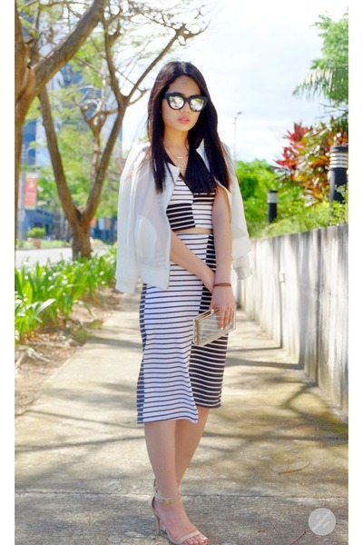 white GTW by SM jacket - black reflector Sunnies studios sunglasses