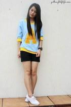 light blue WAGW sweater - black Zara shorts - white Sneakers sneakers