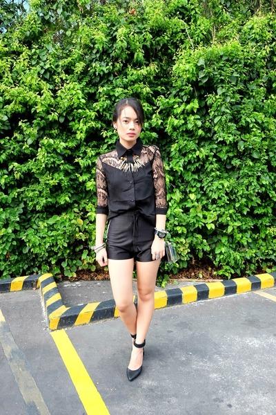black pinkaholic shorts - clear clutch tonic bag - black Forever 21 heels