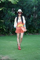 neutral WAGW hat - orange WAGW shorts - red Forever 21 wedges