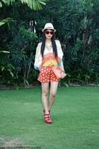neutral WAGW hat - orange WAGW shorts - red Forever 21 wedges