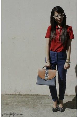 red Kamiseta top - navy H&M pants - black Forever 21 heels