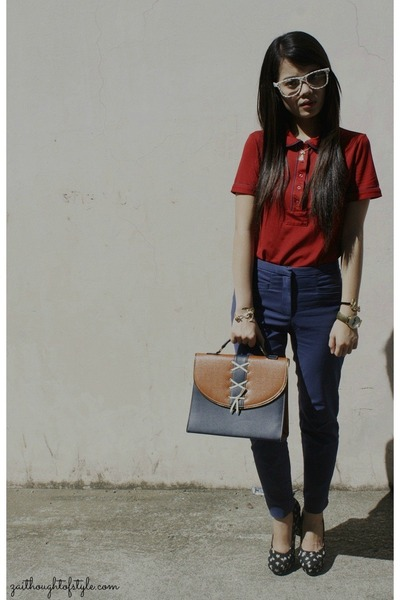 red Kamiseta top - navy H&M pants - black Forever 21 heels