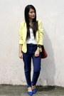 Navy-trouser-h-m-pants-yellow-cropped-wagw-blazer-tan-louis-vuitton-bag