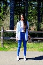 blue high rise BDG jeans - Call it Spring bag - white Aldo wedges