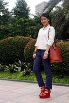 brown Louis Vuitton bag - navy H&M pants - white old JC Buendia X Kashieca top