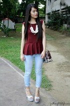 maroon peplum Tangerine top - maroon Burberry bag - light blue denim Zara pants
