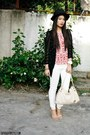 Black-accessorize-hat-white-mango-jeans-red-monkee-business-top