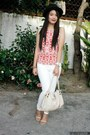 White-mango-jeans-black-accessorize-hat-red-monkee-business-top