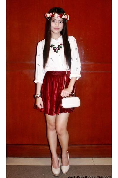 Yhansy necklace - neutral Call it Spring bag - brick red velvet Tangerine skirt