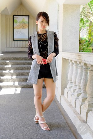 black leather Forever 21 shorts - heather gray WAGW vest - black lace WAGW top