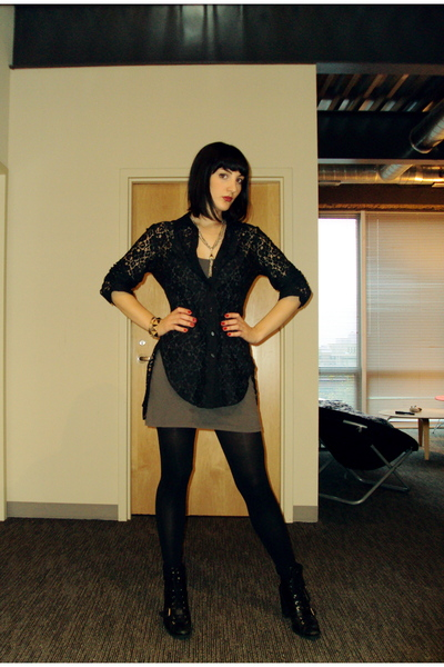 BB Dakota blouse - aa dress - Nine West boots - vintage necklace