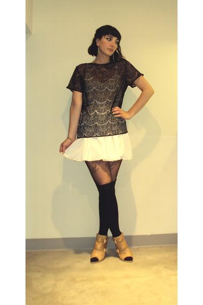 black American Apparel top - white American Apparel skirt