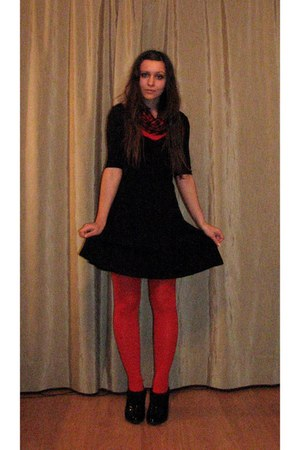 red thrifted top - black dress - red opaque tights