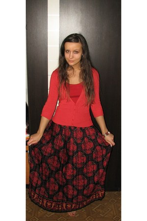 ruby red skirt - ruby red New Yorker top - red thrifted Mango cardigan - brick r