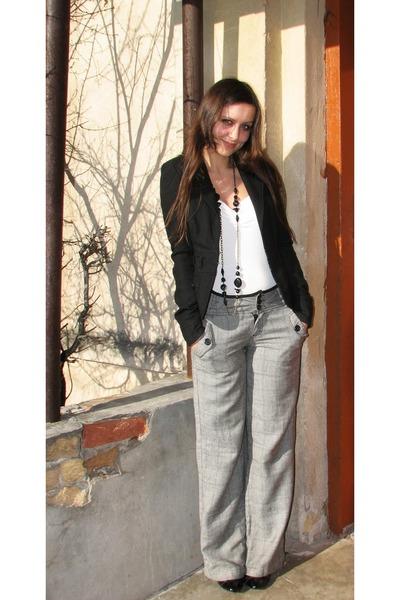 black charles&keith boots - black Vero Moda blazer - white thrifted next top