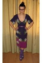 purple socks - deep purple thrifted Oasis dress - amethyst pieces belt