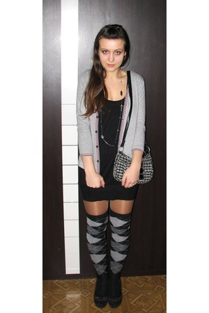 black New Yorker dress - heather gray purse - heather gray Ebay socks - black st