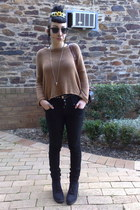 black thrifted boots - black JayJays jeans - camel Japanese Boutique sweater