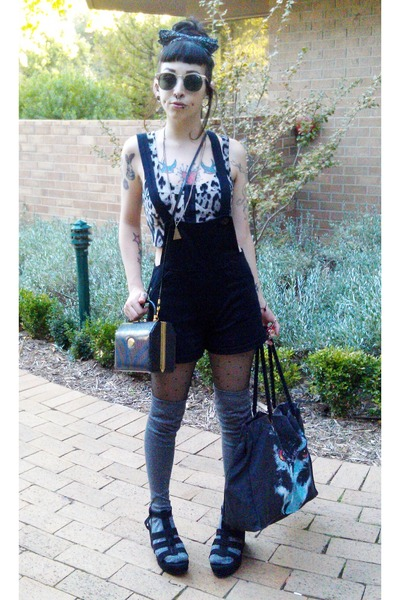 black G Versace bag - silver Sportsgirl socks