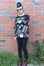 black thrifted vintage sweater - brick red thrifted vintage boots