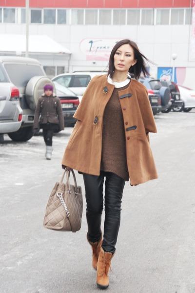Michael Kors bag - Braska boots - Zara sweater - New Yorker pants - romwe cape