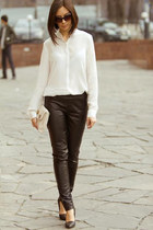 black New-Yorker pants - white Zara blouse - black Zara heels