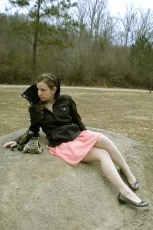 black models own jacket - pink Zidisha Luxe skirt - silver models own shoes - bl
