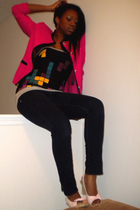 pink Goodwill blazer - black Zidisha Luxe top - blue Fire jacket - pink Charlott