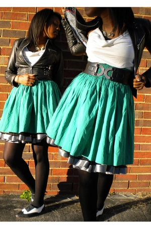 black Wilsons leather jacket - green Gap skirt - white vintage on etsy shoes - w