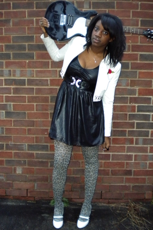 black Silence  Noise dress - brown kohls stockings - white payless shoes - white