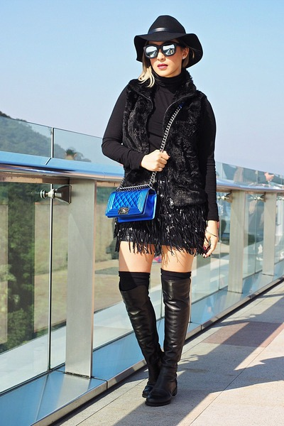 black boots - black H&M hat - blue Chanel purse - black Zara vest