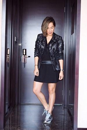 black Nasty Gal dress - black Zara blazer - silver nike sneakers