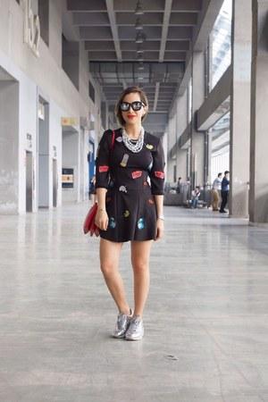 black Zara dress - red Celine bag - silver nike sneakers