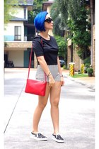 black Givenchy sneakers - red Celine bag - black Express top