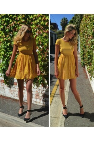 mustard dress ZiiPORA dress - ZiiPORA sunglasses - white lipstik shoes heels