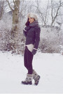 Heather-gray-faux-fur-tommy-hilfiger-boots-black-pull-bear-jeans