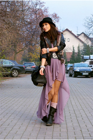 light purple Love dress - black H&M men hat - black Bershka jacket