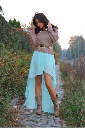 aquamarine Love dress - camel Aldo boots - light brown H&M sweater