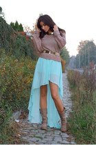 aquamarine Love dress - camel Aldo boots - light brown H&M sweater