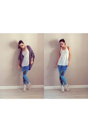 Romwecom leggings - H&M top - H&M cardigan - asoscom sneakers