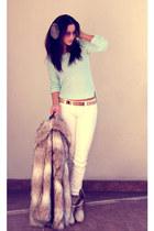 aquamarine H&M blazer - eggshell new look boots - camel H&M coat