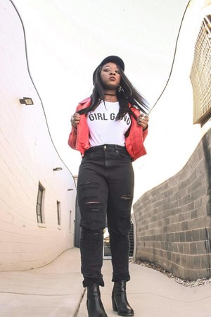 red leather Boohoo jacket - H&M jeans - Boohoo t-shirt