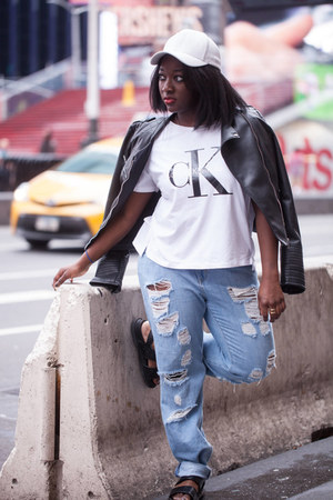 Forever 21 jeans - faux leather Zara jacket - calvin klein t-shirt