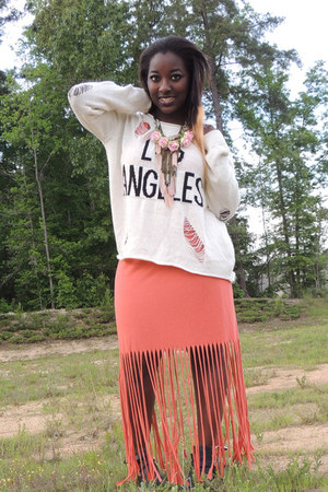 salmon fringe Nordstrom dress - ivory Forever 21 sweater