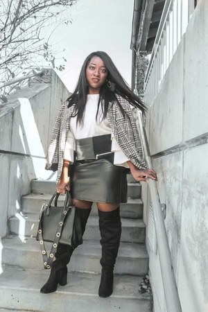 DSW boots - plaid thrifted blazer - faux leather H&M skirt - ruffle Macys top